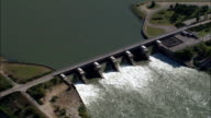 weir on River Rhone - Aerial View - Rhône-Alpes, Drôme, Arrondissement de Valence, France video