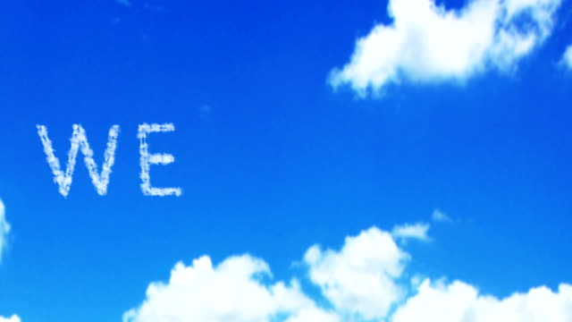 welcome cloud word on the blue sky and white clouds video
