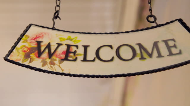 Welcome. Welcome sign isolated on white background. Hanging welcome sign. video
