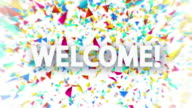 Welcome white sign with falling confetti animation video