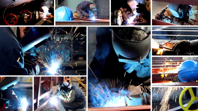 Welder at work, split screen video