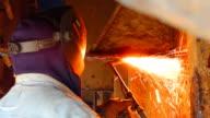 Welder in shipbuilding video