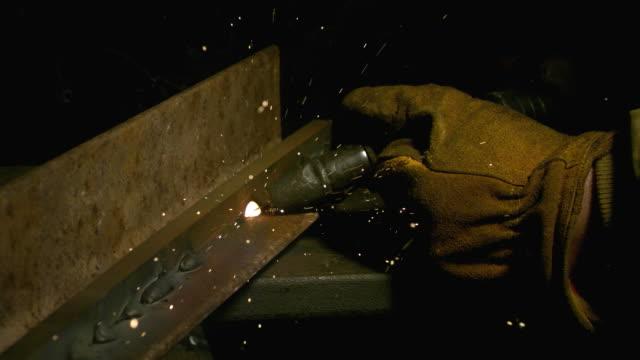 Welding closeup, slow motion video