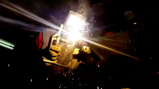 Welding Sparks Slow Motion video