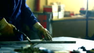 Welding two square steel tubes. video