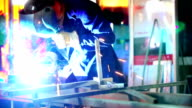 Welding two steel tubes. video