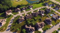 Well Kept Affluent Neighborhood in Beautiful Morning Light, Aerial View video