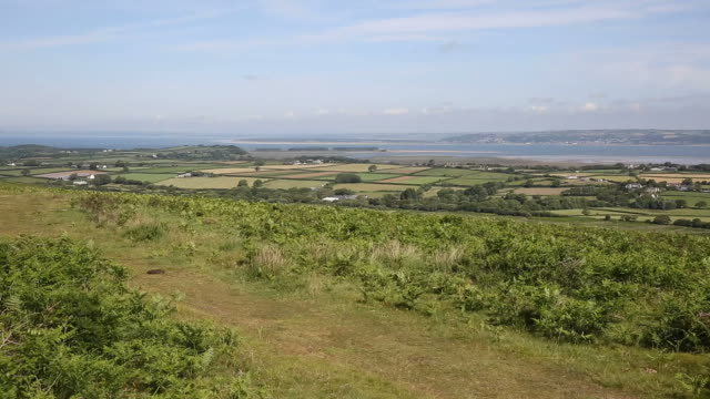 Welsh countryside The Gower peninsula South Wales UK from Cefn Bryn hill video