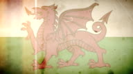 Welsh Flag - Grungy Retro Old Film Loop with Audio video