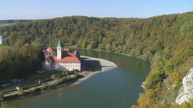 T/L Weltenburg Monastery On Danube Riverbank In Bavaria video