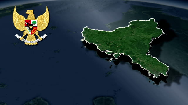 West Kalimantan with Coat Of Arms Animation Map video