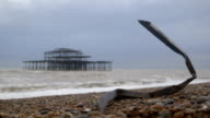 West Pier ruin - Brighton, UK. Iron on the beach video
