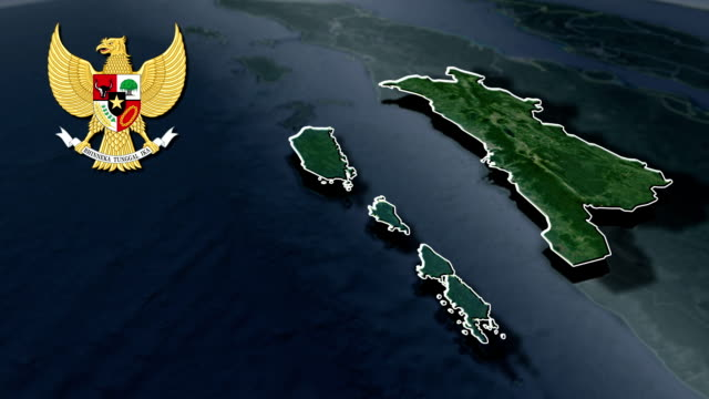 West Sumatra with Coat Of Arms Animation Map video