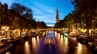 Westerkerk with canal in Amsterdam video