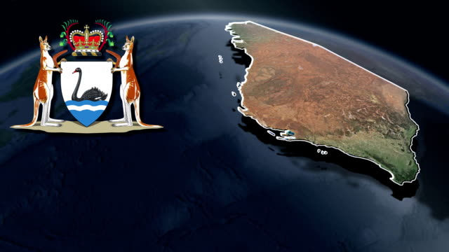 Western Australia white Coat of arms animation map video