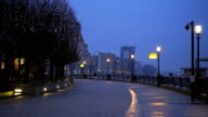 Westferry Circus at Canary Wharf London in the early evening video