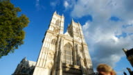 4K Westminster Abbey church facade, London time lapse video