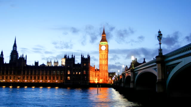 Westminster Big Ben at night, London, England, UK video