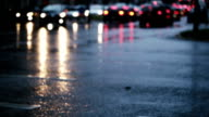 Wet asphalt, cars and light reflections video