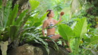 wet woman with coconut video