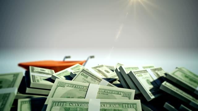Wheelbarrow Full of Dollar with Alpha Channel video