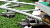 wheels of rail slides, camera video. video