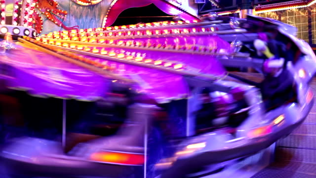 Whirling Amusement in the night - time lapse video