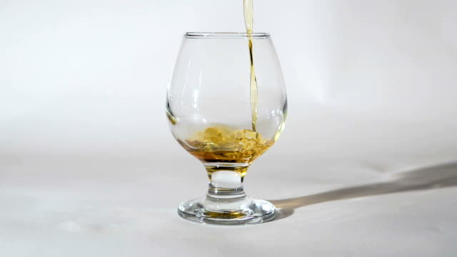 Whiskey Pouring into Glass on White video