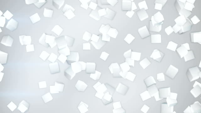 white 3D cubes flying down loopable video