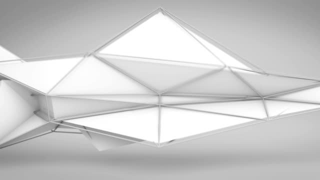 White abstract futuristic polygonal 3D shape. Loop video