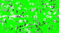 White Alphabets On Green Chroma Key video