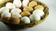 White and Brown eggs in the basket video