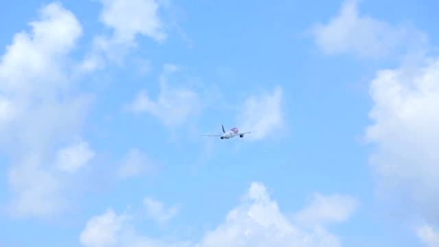 White and purple passenger airliner flying away. Clouded blue sky and forest as background video