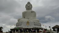 White big Buddha in cloudy day in Chalong, Phuket, Thailand video