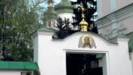 White blue and gold orthodox church dolly pan shot video