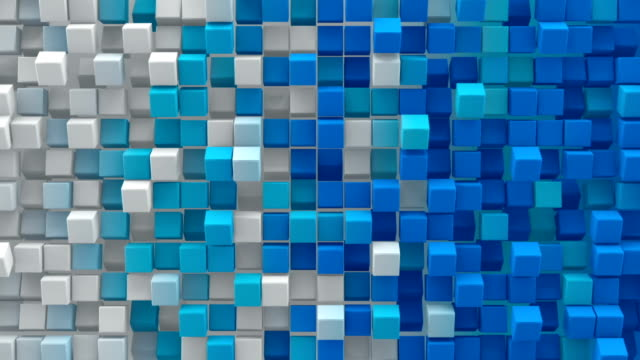 White blue gradient cubes 3D render loopable animation video