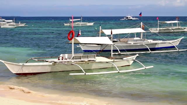 White boats near shore video
