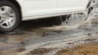 White Car Splashes through Road Pothole video