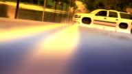 White Car Stranded In Flood - Wide Shot Enhanced video