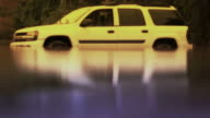 White Car Stranded In Flood With Reflection - Enhanced video