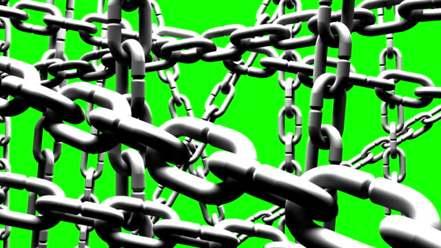 White Chains Abstract On Green Chroma Key video