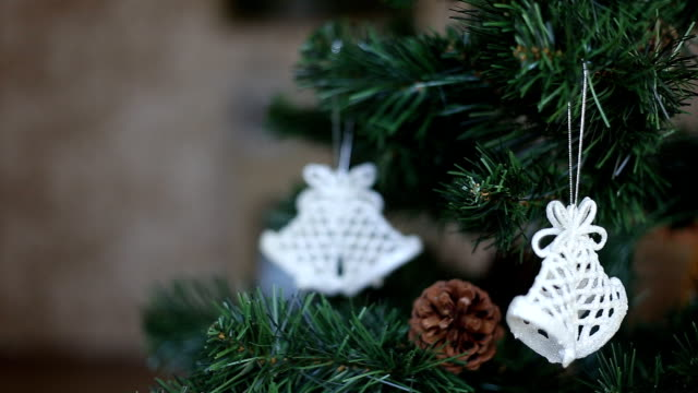 White christmas baubles hanging video