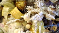 White Christmas tree close-up. Beautiful decorations. video