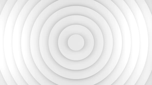White circles growing 3D animation seamless loop video