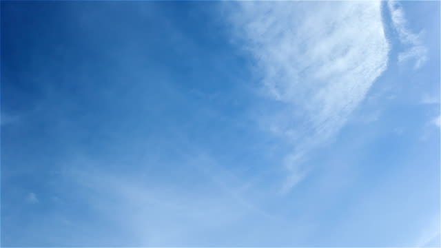 White cirrostratus clouds in blue sky video