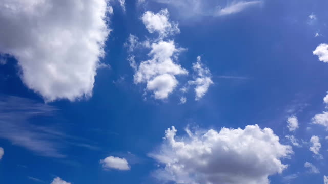 White Clouds moving through blue sky in beautiful day video