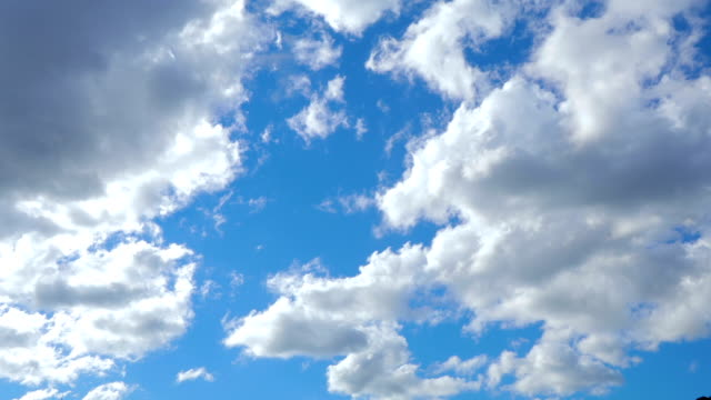 White clouds running over blue sky video