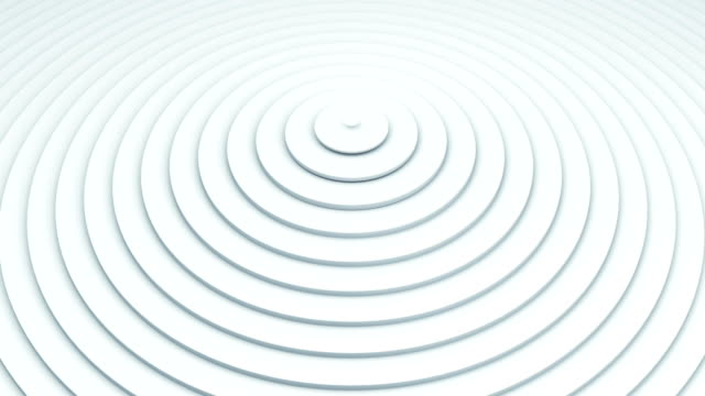 White concentric circles 3D animation seamless loop video