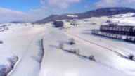 4K White country side aerial - Winter video