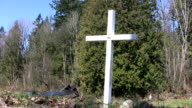 White Cross Memorial By The Road (HD 1080p30) video